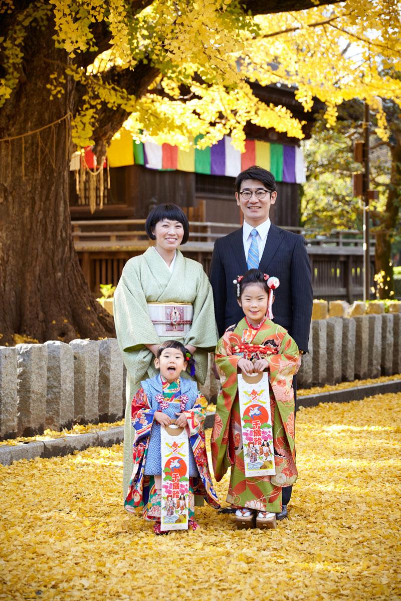 イチョウの絨毯の上で、七五三家族記念写真